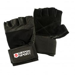 weightlifting gloves - Nippon Sport - 'Wristguard' - Black